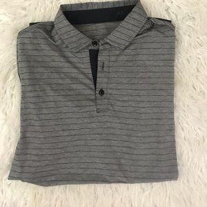 Lululemon Gray striped polo shirt